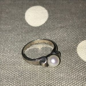 James Avery Scroll ring with pearl